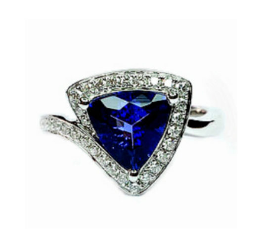 18kt white gold tanzanite & diamond ring