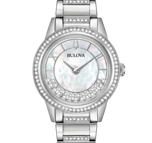 Ladies stainless watch with crystal accents