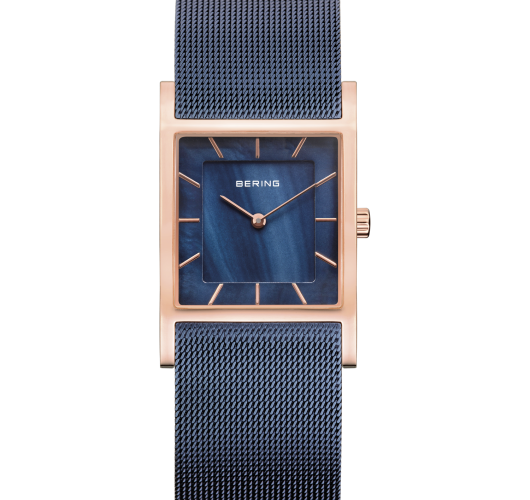 Ladies rose tone watch with blue mesh band