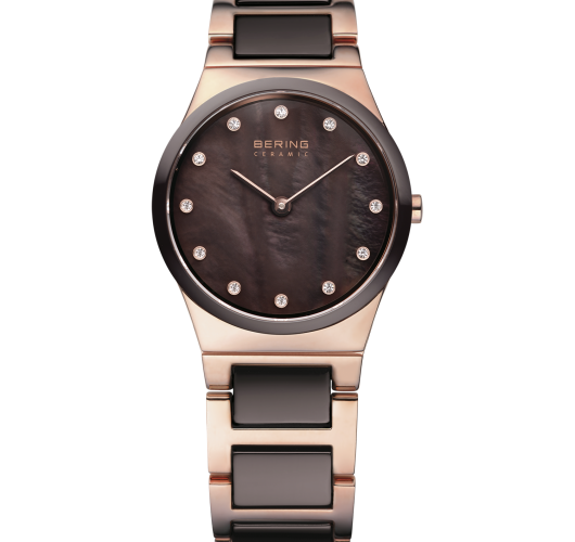 Ladies rose tone brown ceramic watch