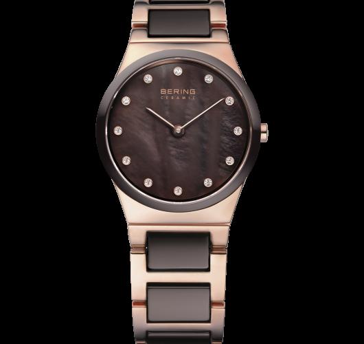 Ladies rose tone brown ceramic watch