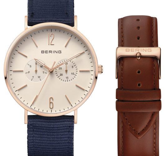 Mens rose tone watch with changeable strap