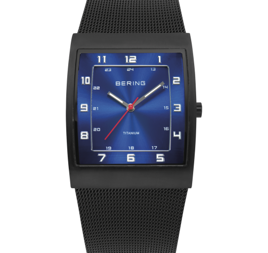 Mens black titanium watch with mesh band