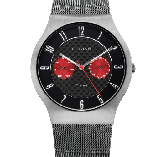 Mens grey titanium watch with red dials