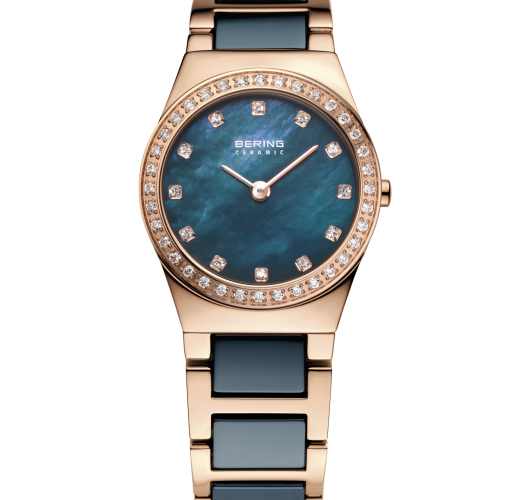 Ladies rose tone blue ceramic watch