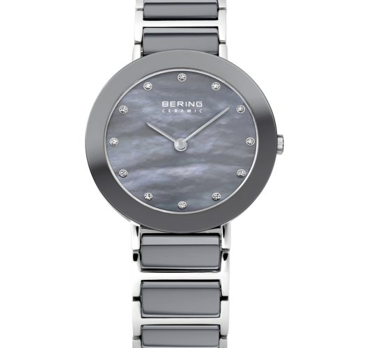 Ladies stainless grey ceramic watch