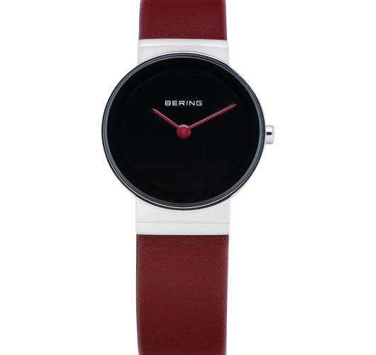 Ladies stainless watch with red leather strap