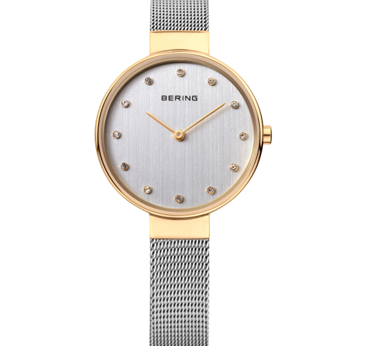 Ladies two tone watch with mesh band