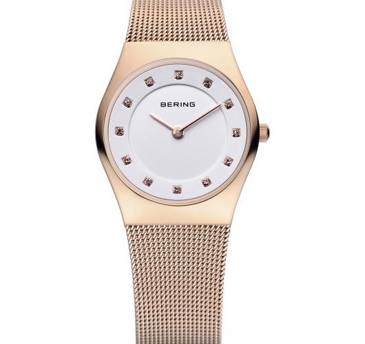 Ladies rose tone watch with mesh band