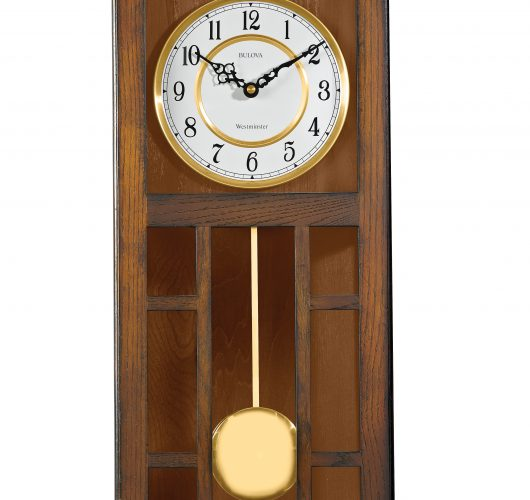 Oak wall clock with triple chime movement