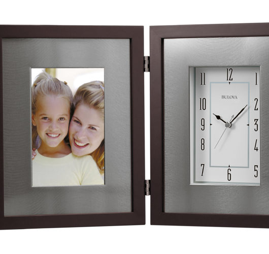 Picture frame / Table clock with espresso brown finish