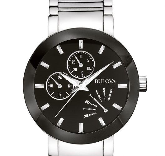 Mens stainless watch with multifunction sub-dials