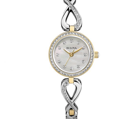 Ladies two tone quartz watch with crystal accents