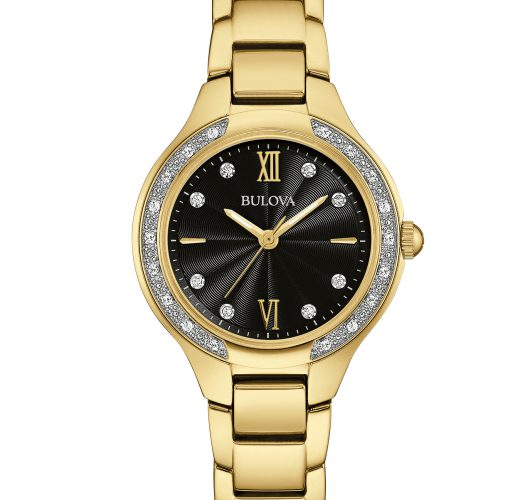 Ladies gold-tone quartz watch with diamonds
