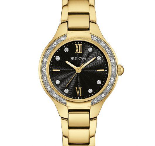 Ladies gold-tone quartz watch with diamonds