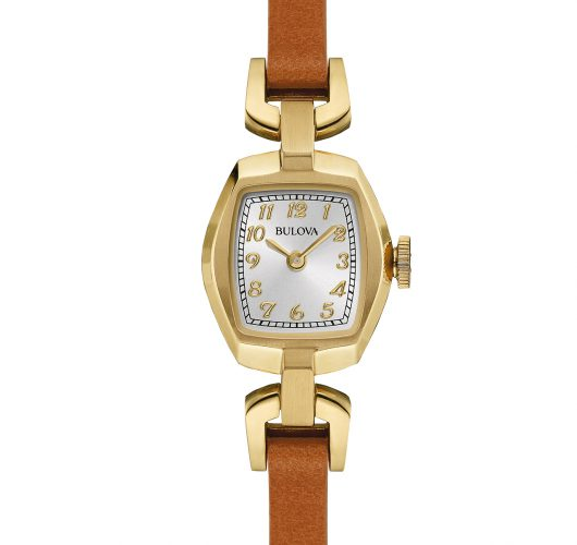 Ladies gold-tone quartz watch with leather strap
