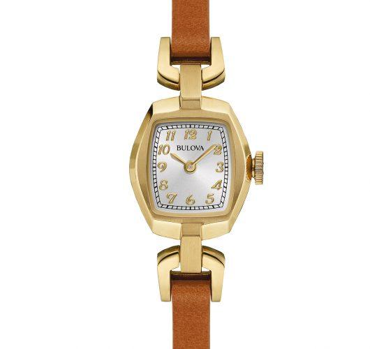 Ladies gold-tone quartz watch with leather strap