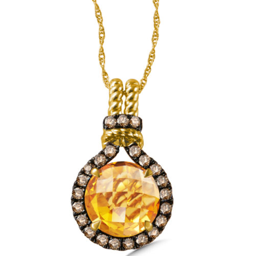 Yellow gold citrene & cognac diamond pendant