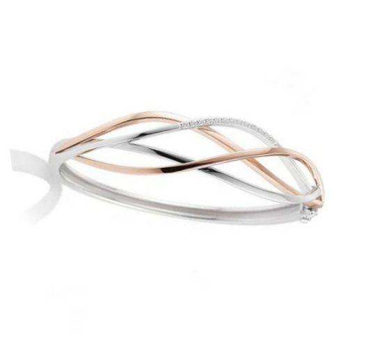 Rose and white gold diamond bangle bracelet