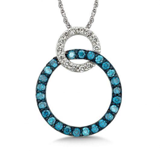 White gold treated blue & white diamond pendant