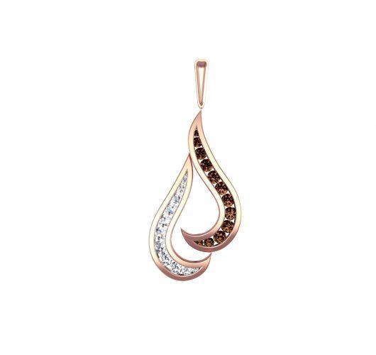 Rose gold Cognac & white diamond pendant