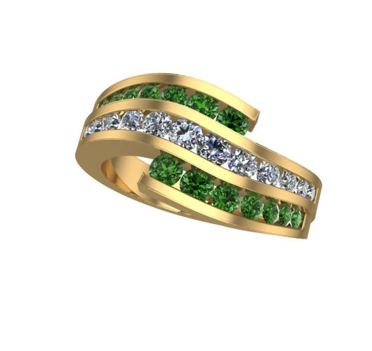 Yellow gold treated green & white diamond ring
