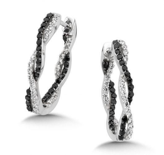 White gold black & white diamond inside out hoops