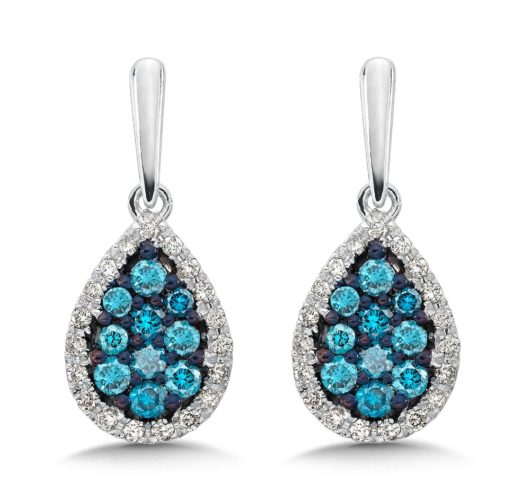 White gold treated blue & white diamond earrings