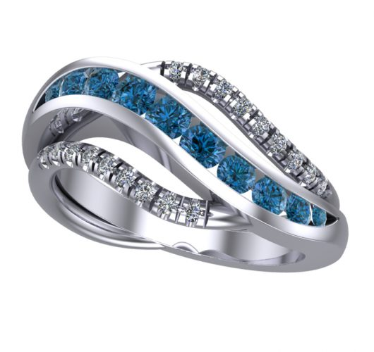 White gold treated blue & white diamond ring