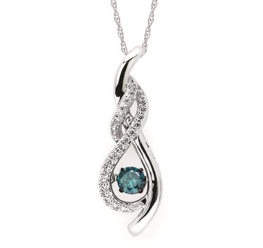 White gold treated blue & white shimmering diamond pendant