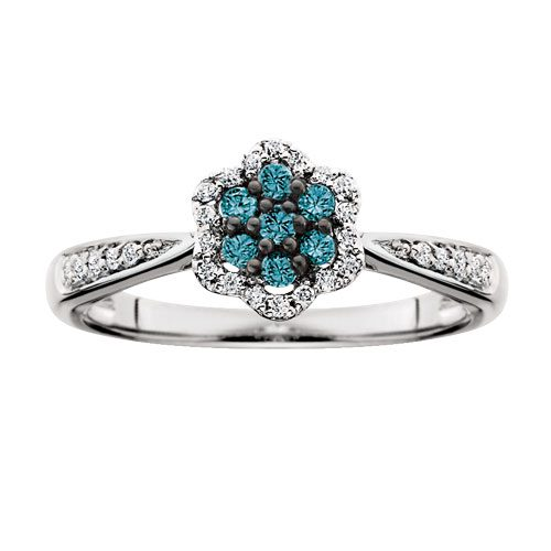 White gold treated blue & white diamond cluster ring