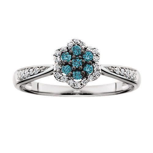 White gold treated blue & white diamond cluster ring