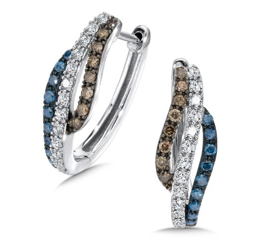 White gold treated blue, cognac & white diamond hoops