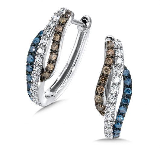 White gold treated blue, cognac & white diamond hoops