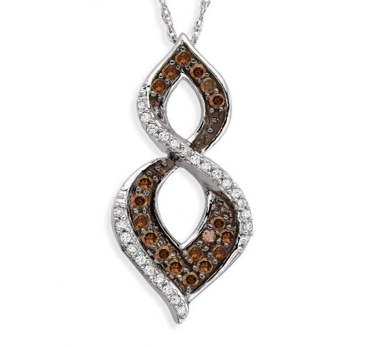 White gold cognac & white diamond pendant