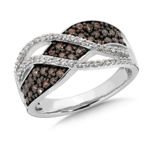 White gold cognac & white diamond band