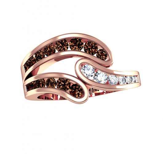 Rose gold Cognac & white diamond ring
