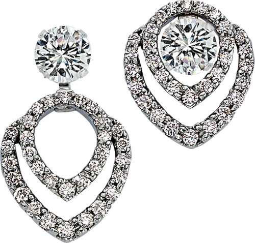 White gold convertible diamond earring jackets