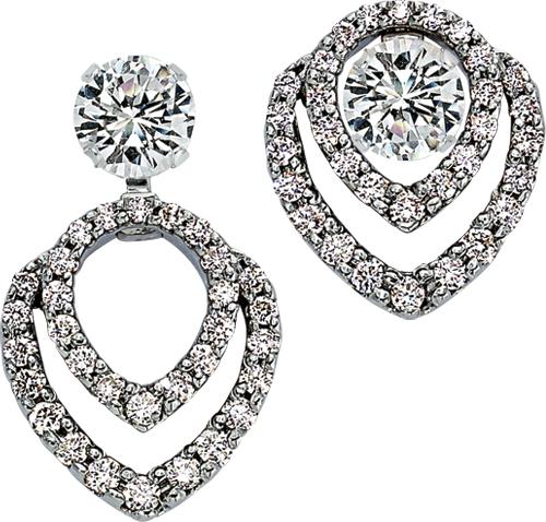 White gold convertible diamond earring jackets