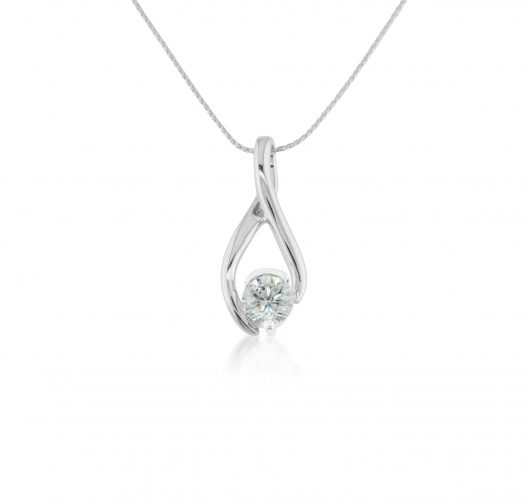 White gold twist diamond pendant