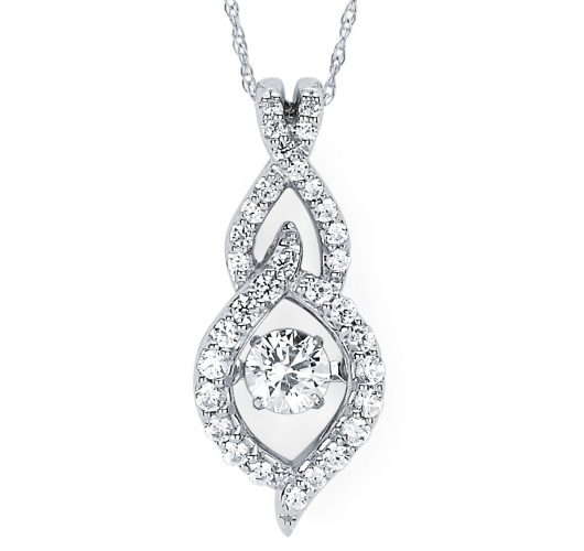 White gold shimmering diamond pendant