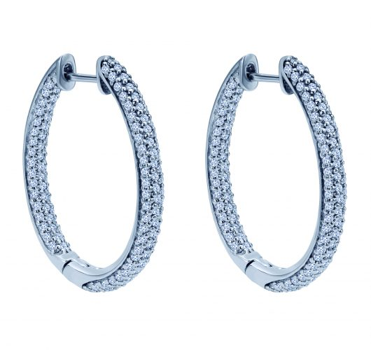 White gold inside out diamond hoops