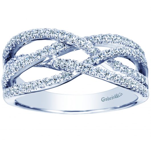 White gold diamond crossover band