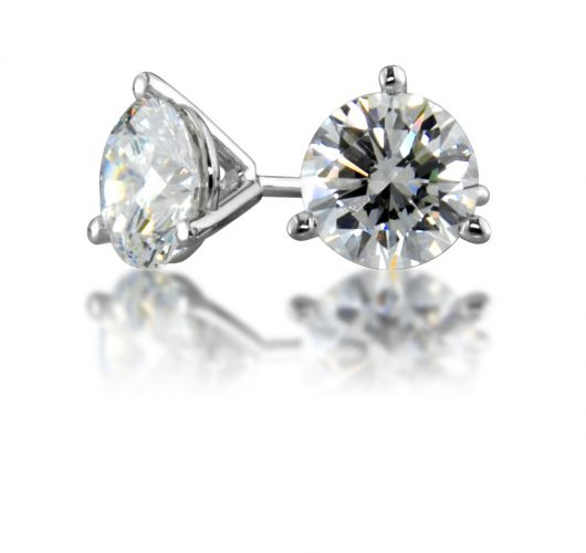White gold martini diamond stud earrings