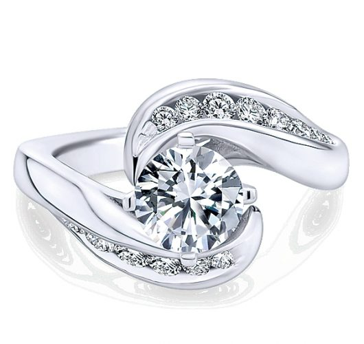 White gold diamond bypass ring