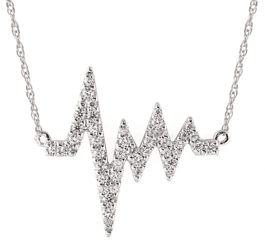 White gold diamond heartbead necklace