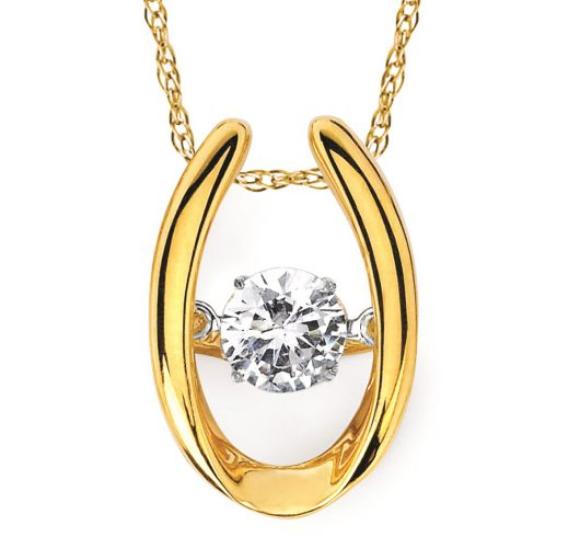Yellow gold shimmering diamond pendant