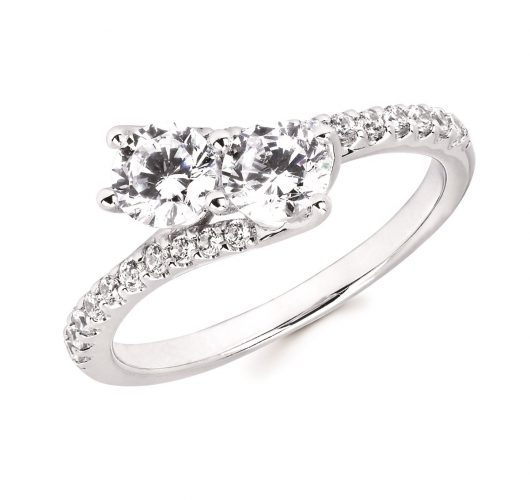 White gold 2 diamond ring
