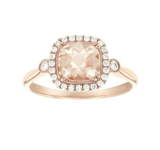 Rose gold morganite & diamond ring