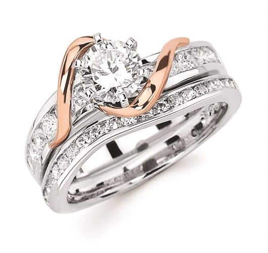White & rose gold channel set engagement & wedding rings